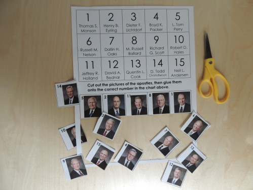 General Conference Activity for Preschoolers - Cut and Paste Apostle page.