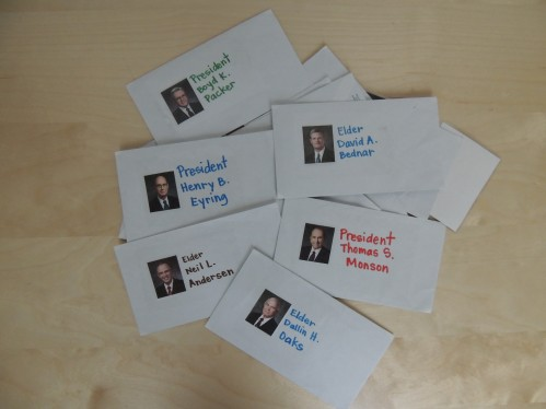 General Conference Activity for Toddlers-Apostle envelope picture match