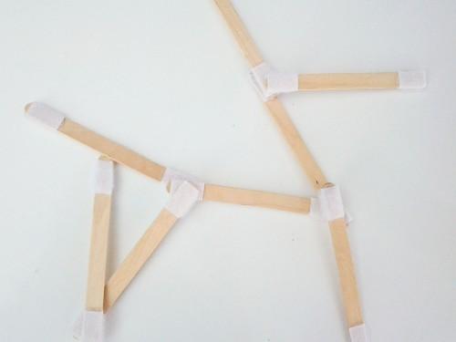 Super fun toddler activity: Velcro popsicle sticks. Put velcro on both ends of popsicle sticks, then use them to make shapes, letters, and more.