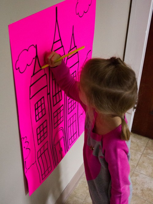 Draw a scripture story or church-y picture on poster board and tape it to the wall. Let your kids color away. Great way to keep preschoolers busy during General Conference.