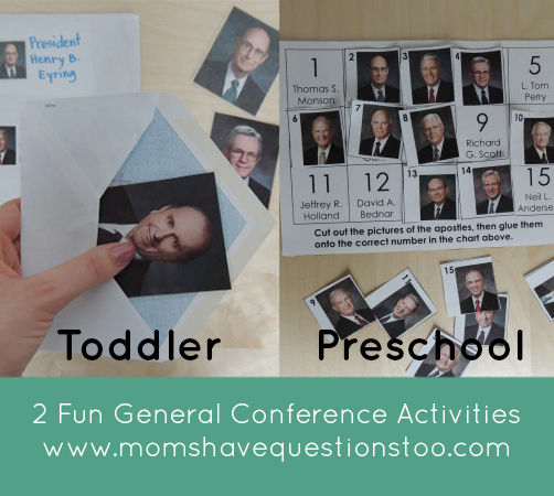 General Conference Activities - Apostle Envelope Matching and Cut and Paste Page - Moms Have Questions Too