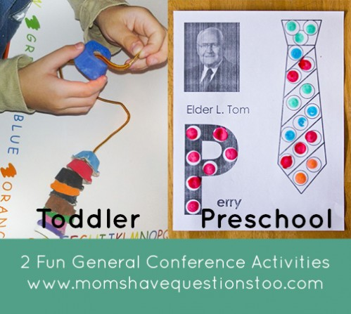 General Conference activities for preschoolers and toddlers. Egg carton beading is fun for toddlers and practices fine motor skills. The printable apostle dot marker pages are free and kids love them!