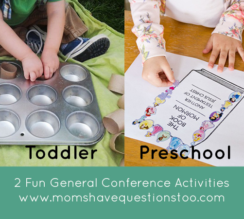 General Conference Activities - Muffin Tin Sorting and Sticker Pages - Moms Have Questions Too