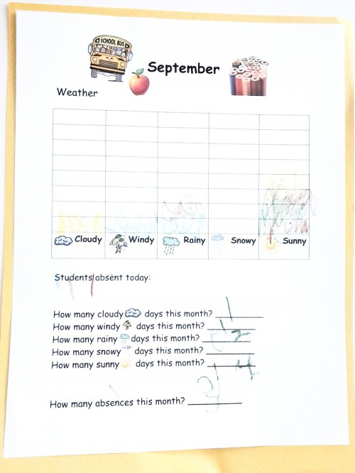 Preschool Journal - Weather and Attendance Finished Sheet
