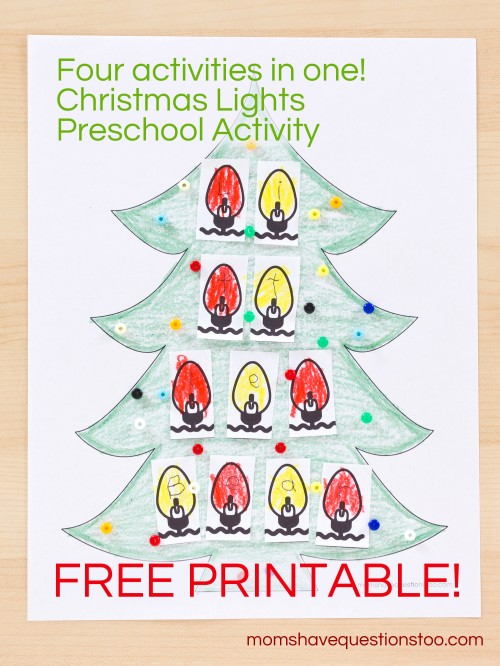 Christmas Lights Preschool Activity -- Moms Have Questions Too