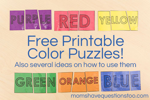 Free Printable! 3 Part Color Puzzles -- Moms Have Questions Too