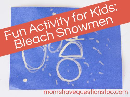Winter Preschool Activity - Bleach Snowfall Craft -- Moms Have Questions Too