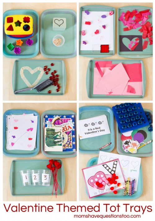 Valentine Themed Tot School Trays -- Moms Have Questions Too