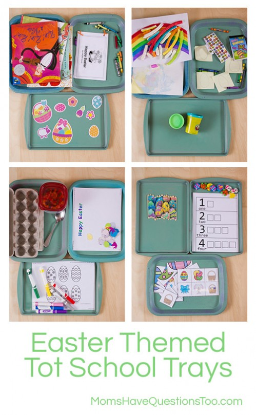 Easter Themed Tot School Trays - Moms Have Questions Too