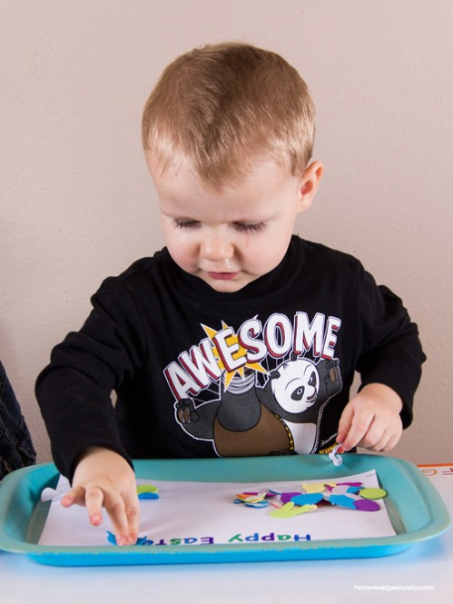 Foam Stickers - Easter Themed Tot School Trays -- Moms Have Questions Too