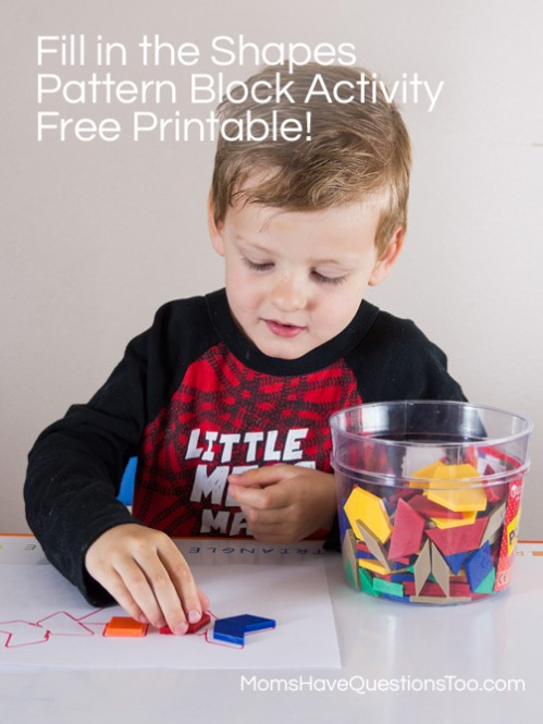 Fill in the Shapes Pattern Block Activity - Free Printable! - Moms Have Questions Too