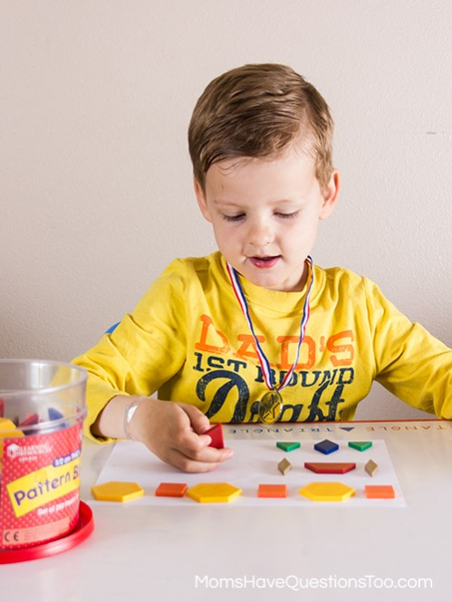 Patterns for Preschoolers using Pattern Blocks - Moms Have Questions Too