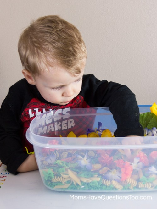 Playing with a spring sensory bin with items from the dollar store - Moms Have Questions Too