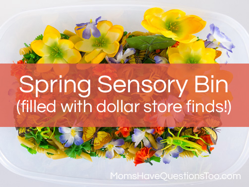 Spring sensory bin using great finds from the dollar store! Moms Have Questions Too