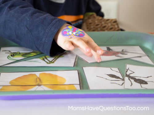 2 Part Puzzles - Bug Themed Tot School Trays - Moms Have Questions Too