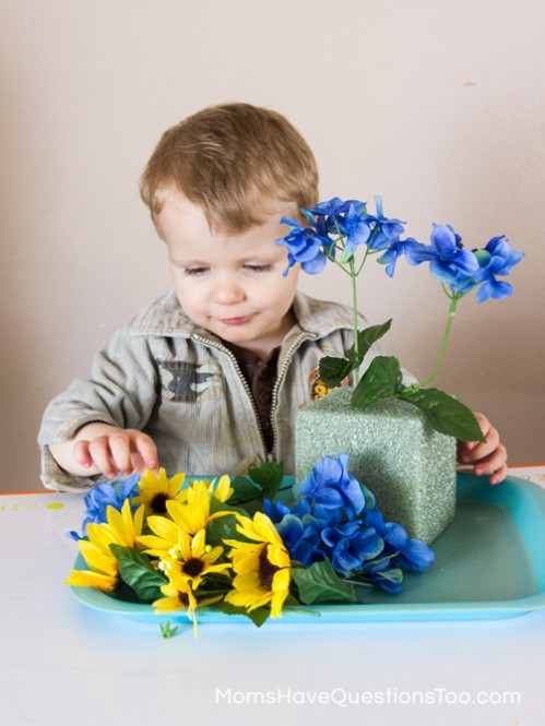 Arranging Flowers - Spring Tot School Trays - Moms Have Questions Too