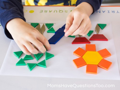 Creating a Tree with Pattern Blocks - Spring Pattern Block Template - Moms Have Questions Too