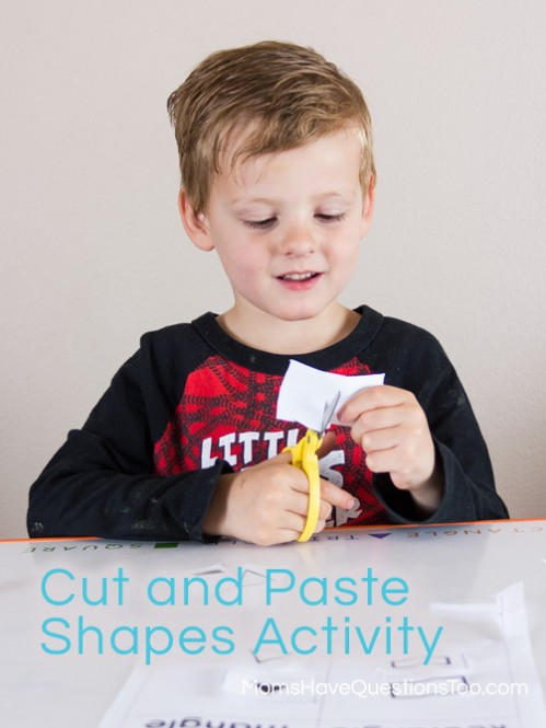 Cutting Shapes - Shape Sorting Cut and Paste Activity - Moms Have Questions Too