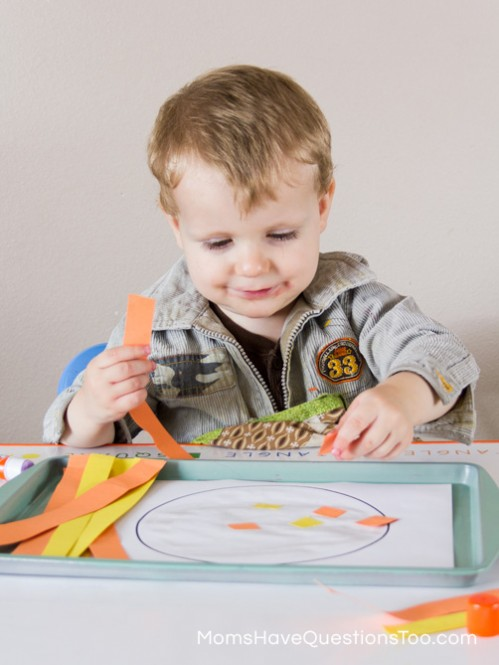 Gluing Activity - Spring Tot School Trays - Moms Have Questions Too
