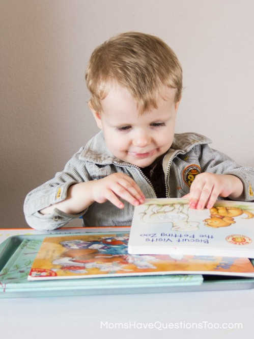Reading Books - Spring Tot School Trays - Moms Have Questions Too