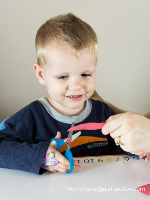 Starting to Cut - Shapes Cutting Practice for Toddlers - Moms Have Questions Too