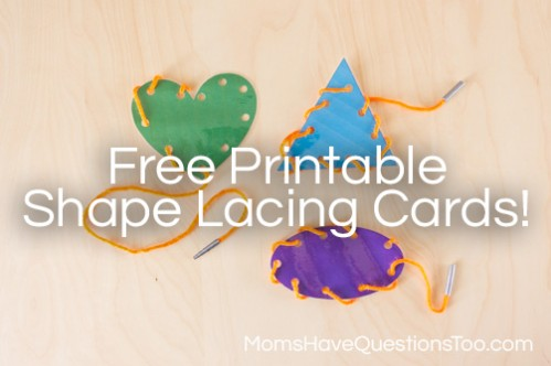 Shape Lacing Cards To Teach Shapes Moms Have Questions Too