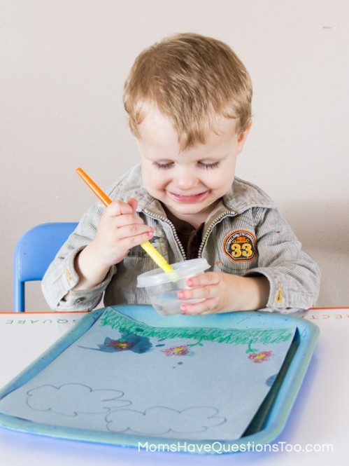 Water Painting - Spring Tot School Trays - Moms Have Questions Too