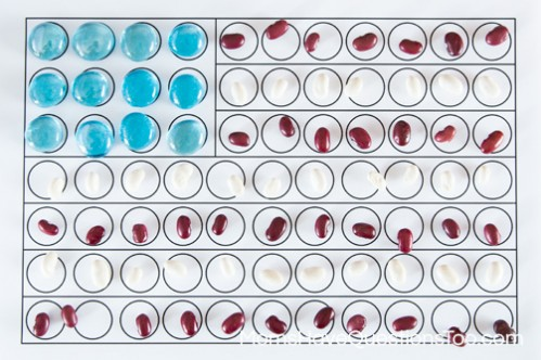 4th of July Sensory Bin Items on Flag - www.momshavequestionstoo.com
