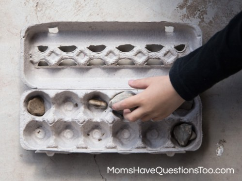 Use an egg carton and start a rock collection with your toddler or preschooler www.momshavequestionstoo.com
