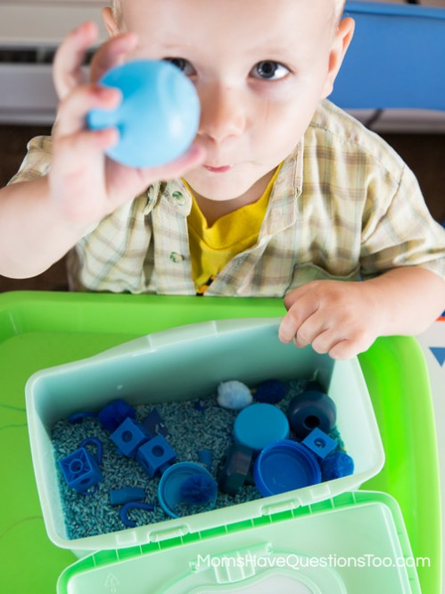 Blue Sensory Bin - Moms Have Questions Too