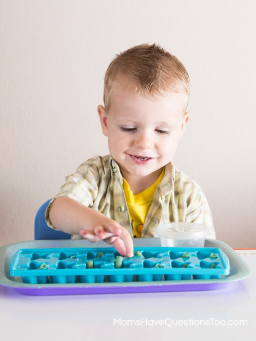 Pasta in Ice Cube Tray - One to One Correspondence - Moms Have Questions Too