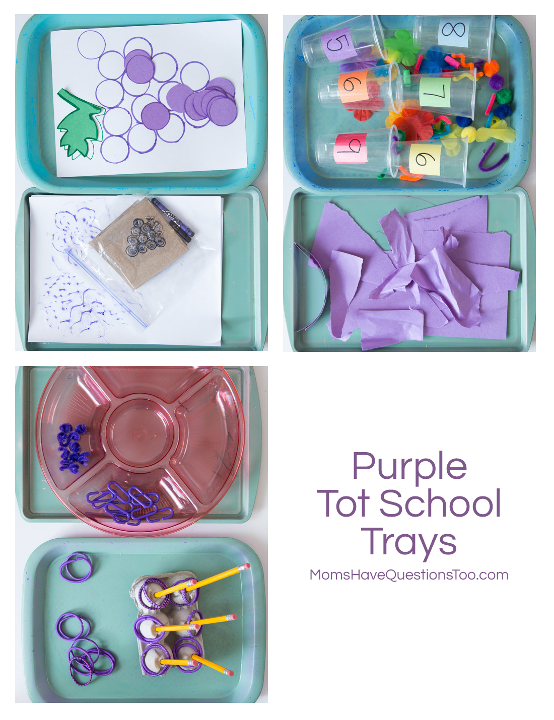 Purple Tot School Trays - Moms Have Questions Too