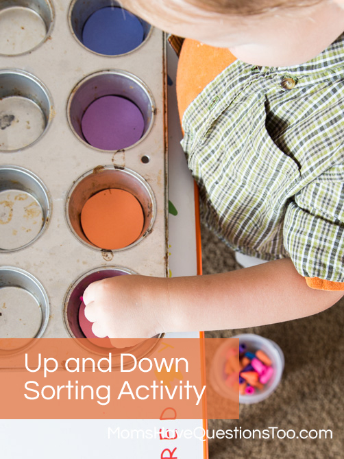 Up and Down Sorting for Gross Motor Skills Development - Moms Have Questions Too