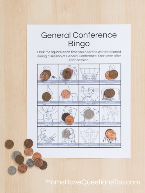 Fun alternatives to regular General Conference Bingo with Free Printables - Moms Have Questions Too