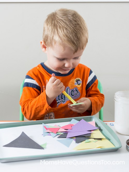 Painting Glue on Triangles - Moms Have Questions Too