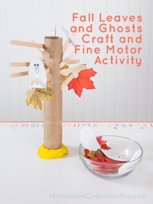 Fall Leaves and Ghosts on a Tree Fine Motor Activity - Moms Have Questions Too