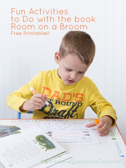 Free printable worksheets to go along with the book Room on the Broom - Moms Have Questions Too