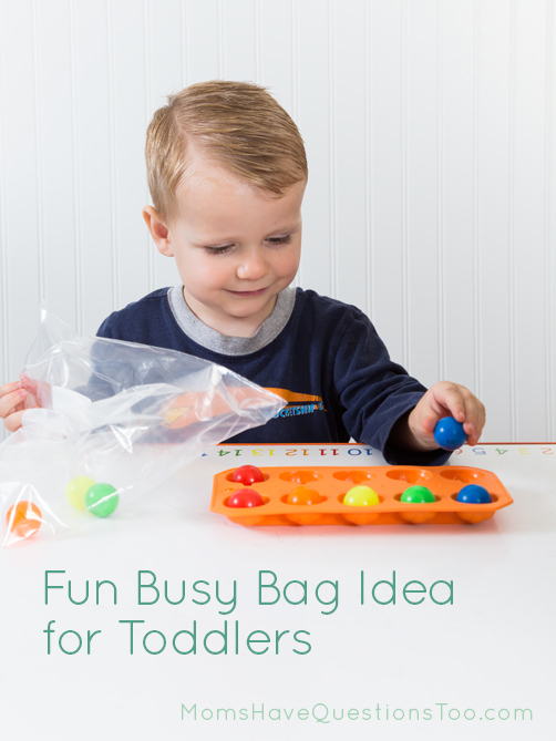 Match Colored Balls in an Ice Cube Tray Busy Bag Idea - Moms Have Questions Too