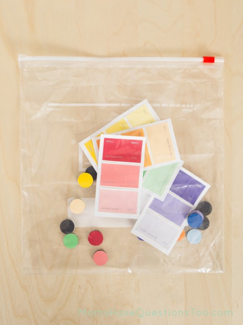 Paint Chips and Magnets Color Matching Busy Bag