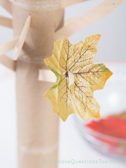 Place Leaves on Popsicle Stick Tree - Moms Have Questions Too