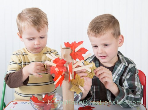 Placing Leaves on a Popsicle Stick Tree - Fine Motor Activity - Moms Have Questions Too