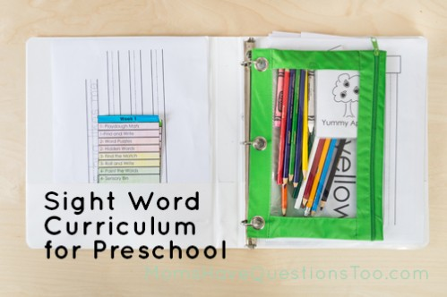 Sight Word Curriculum Week 1 - Moms Have Questions Too