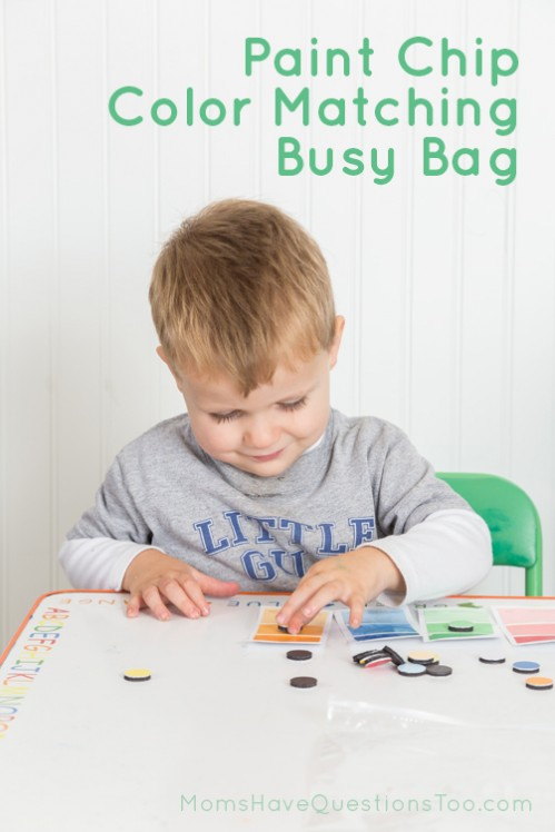 Simple Busy Bag Idea Using Paint Chips for Color Matching - Moms Have Questions Too