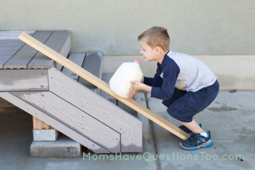 Using a ramp to lift milk onto porch - Moms Have Questions Too