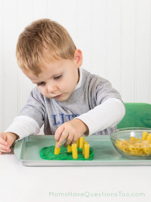 Pasta corn field for Fall Tot Trays - Moms Have Questions Too