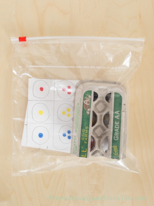 Ping Pong Ball Match Busy Bag - Moms Have Questions Too