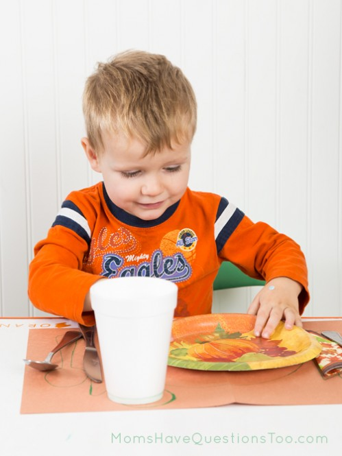 Practicing Setting the Table - Thanksgiving Tot Trays - Moms Have Questions Too