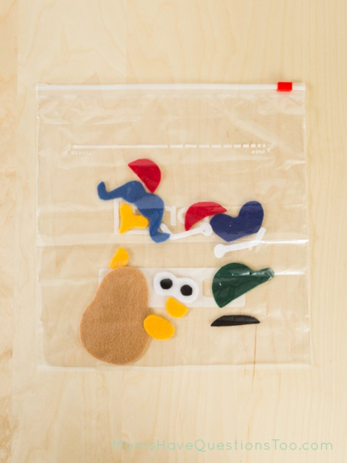 Super fun busy bag idea for toddlers - Felt Mr Potato Head - Moms Have Questions Too