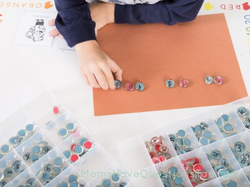 Using a Montessori Moveable alphabet to write a sentence - Moms Have Questions Too