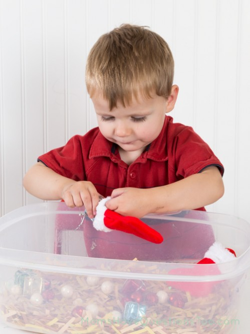 Christmas Sensory Bin - Moms Have Questions Too